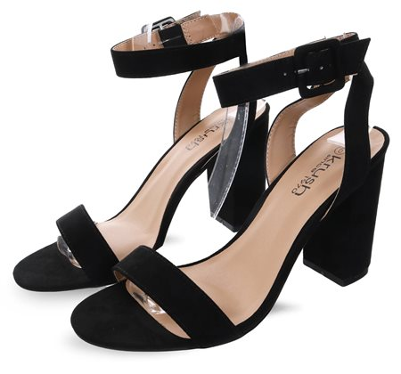 Krush Black Suede Block Heels  - Click to view a larger image