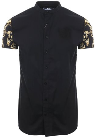 Siksilk Black / Gold S/S Grandad Collar Oxford Shirt  - Click to view a larger image