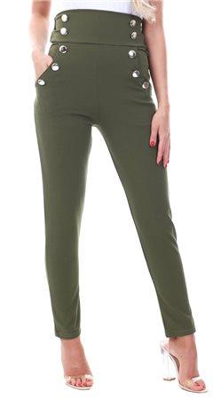 Parisian Khaki Button Detail High Waist Trouser  - Click to view a larger image