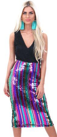 0267fbbf Lexie & Lola Multi Rainbow Sequin Midi Skirt     Shop the latest ...
