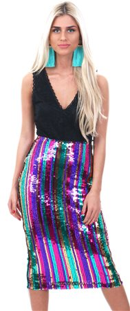Lexie & Lola Multi Rainbow Sequin Midi Skirt  - Click to view a larger image