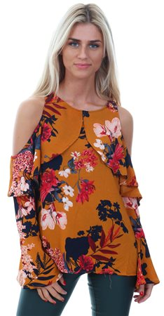 Ax Paris Mustard Floral Cold Shoulder Top  - Click to view a larger image