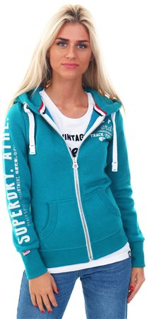 Superdry Teal Marl Track & Field Zip Hoodie  - Click to view a larger image