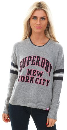 Superdry Grey Marl College Sport Logo Knit Jumper  - Click to view a larger image