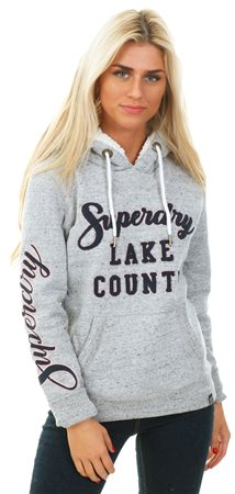 Superdry Slate Grey Marl Aria Applique Borg Hoodie  - Click to view a larger image
