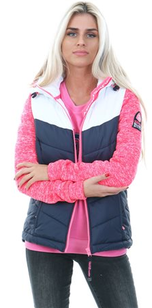 Superdry Fusion Pink/White Storm Hybrid Colour Block Zip Hoodie  - Click to view a larger image