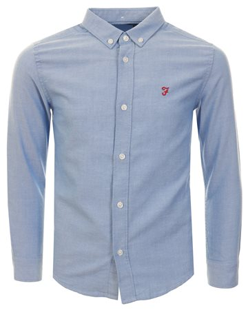 Farah Blue Brewer Oxford Slim Shirt  - Click to view a larger image