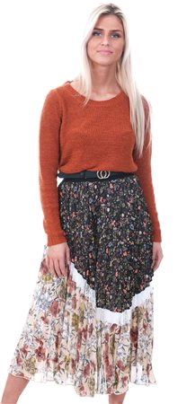 Style London Multi Pleated Floral Midi Skirt  - Click to view a larger image