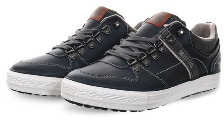 Mustang Navy Lace Up Texture Shoe  - Click to view a larger image
