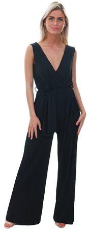 Ax Paris Black Culotte Tie-Waist Jumpsuit  - Click to view a larger image