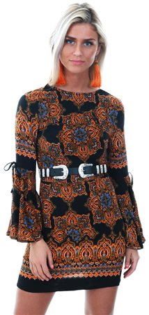 Ax Paris Black Printed Bell Sleeve Dress  - Click to view a larger image