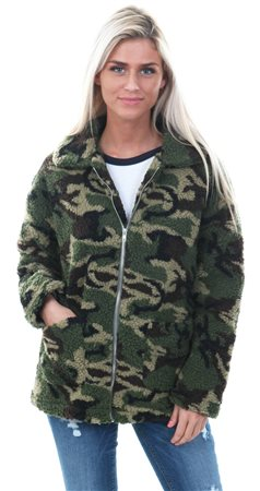 Daisy St Khaki Teddy Camo Textured Jacket  - Click to view a larger image