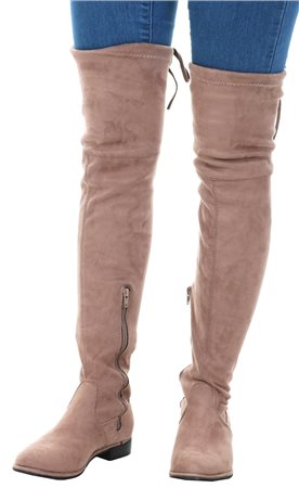 No Doubt Brown Over Knee Tie Suede Boot  - Click to view a larger image