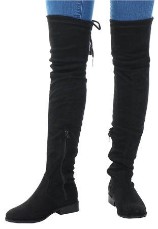 20139118208 No Doubt Black Over Knee Tie Suede Boot
