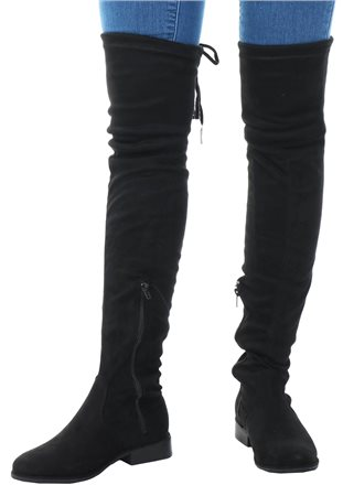 No Doubt Black Over Knee Tie Suede Boot  - Click to view a larger image