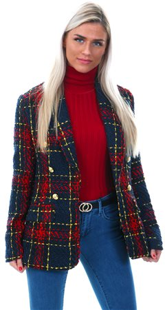 Girl In Mind Red Tweed Smart Tailored Blazer  - Click to view a larger image