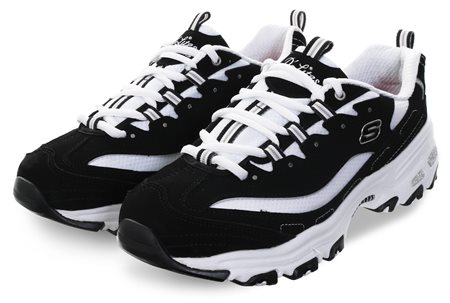 Skechers Black/White D'Lites - Biggest Fan Trainers  - Click to view a larger image