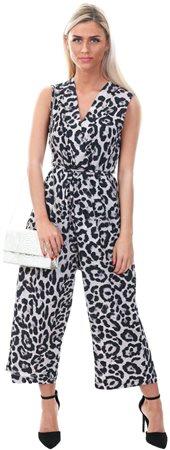 Ax Paris Grey Leopard Print Culotte Jumpsuit  - Click to view a larger image
