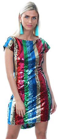 Wal/G Multi Rainbow Stripe Sequin Dress  - Click to view a larger image