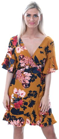 Ax Paris Mustard Frill Floral Wrap Over Dress  - Click to view a larger image