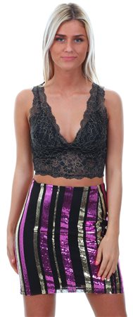 Only Silver / Black Chloe Lace Detail Bralette  - Click to view a larger image