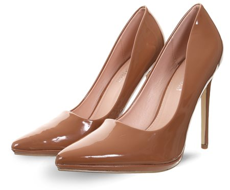 Krush Brown Patent Court Heel
