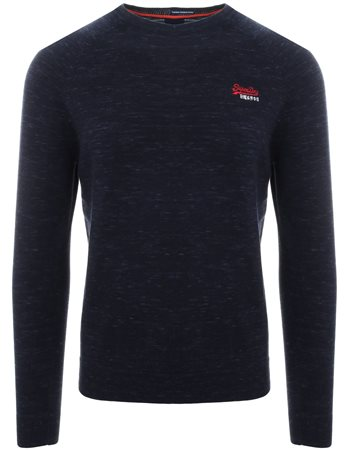 Superdry Montana Blue Grindle Orange Label Cotton Crew Jumper  - Click to view a larger image