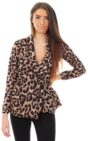 Ax Paris Leopard Animal Print Waist Tie Blouse  - Click to view a larger image