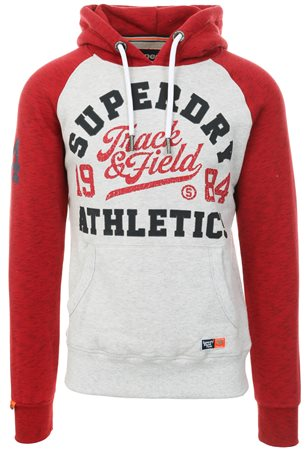 Superdry Ice Yarn/Detriot Red Track & Field Raglan Hoodie  - Click to view a larger image