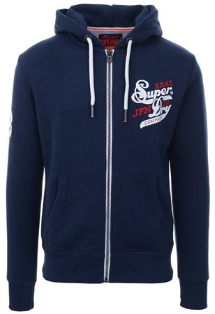 Superdry Blue Grit Japan Zip Up Hoodie  - Click to view a larger image