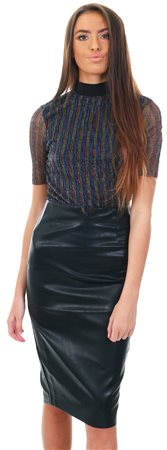 Lexie & Lola Black Pu Faux Leather Pencil Skirt  - Click to view a larger image
