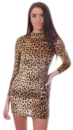 5b12bc6454 Parisian Brown Leopard Print Velvet High Neck Bodycon Dress - Click to view  a larger image