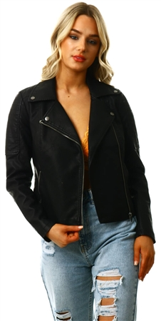 Noisy May Black Leather-Look Pu Jacket  - Click to view a larger image
