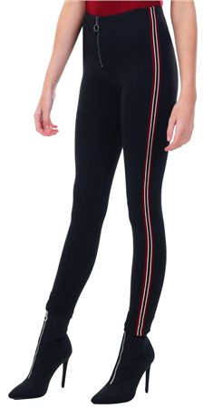 Brave Soul Black Sally Stripe Zip Up Trousers  - Click to view a larger image