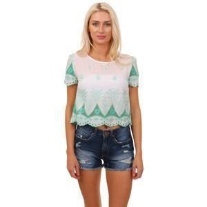 c968c0460a6 Cutie London Green White Contrast Lace Short Sleeve Top - Click to view a  larger