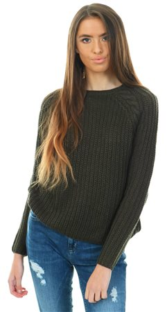 Only Green / Peat Soild Knitted Pullover  - Click to view a larger image