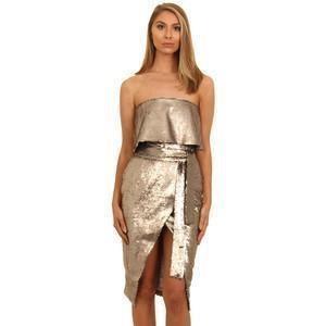 Lavish Alice Silver Sequin Metallic Midi Dress  - Click to view a larger image