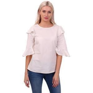 Ax Paris Cream Short Sleeve Frill Top  - Click to view a larger image