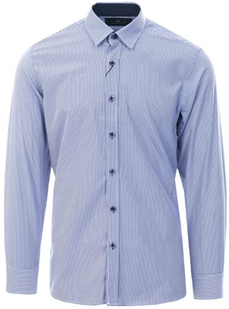 Ottomoda Navy Pinstripe Print L/Sleeve Shirt  - Click to view a larger image