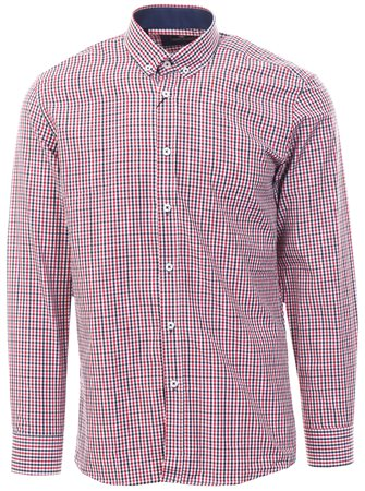Ottomoda Red / Navy Checked Pattern L/Sleeve Shirt  - Click to view a larger image