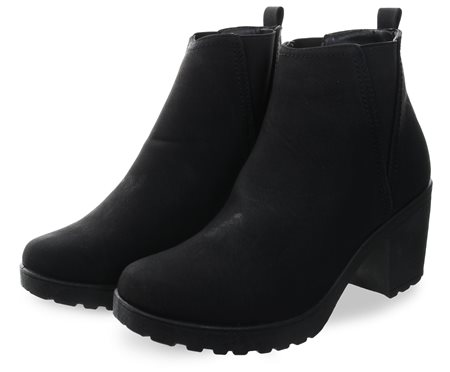 Krush Black Pu Slip On Block Heel Ankle Boot  - Click to view a larger image