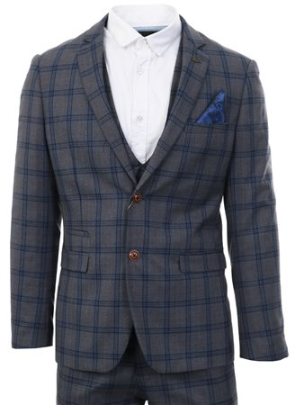 Marc Darcy Grey Check Logan Suit With Double Breasted Waistcoat  - Click to view a larger image