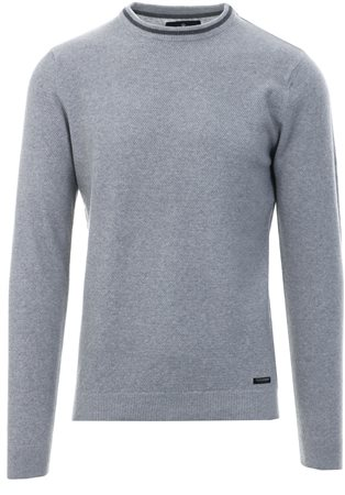 Threadbare Grey Collar Trim Knitted Sweater  - Click to view a larger image