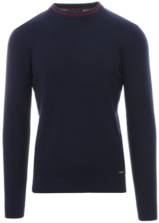 Threadbare Navy Collar Trim Knitted Sweater  - Click to view a larger image