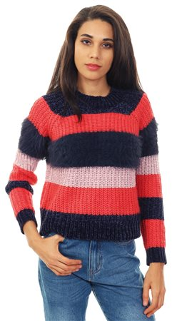 Only Cayenne Joelle Striped Knit Pullover  - Click to view a larger image