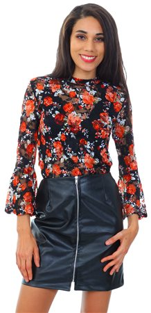 Influence Black PU Faux Leather Zip Up Mini Skirt  - Click to view a larger image