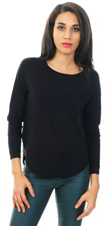Only Black / Black Caviar Curved Hem Pullover  - Click to view a larger image