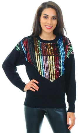 4cfbacf40087e Qed Black Multi Sequin Knitted Crew Jumper