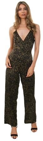 Ax Paris Khaki Animal Print V Neck Jumpsuit  - Click to view a larger image