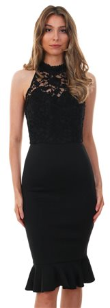 Chichi Black Charmain Frill Lace Midi Dress  - Click to view a larger image